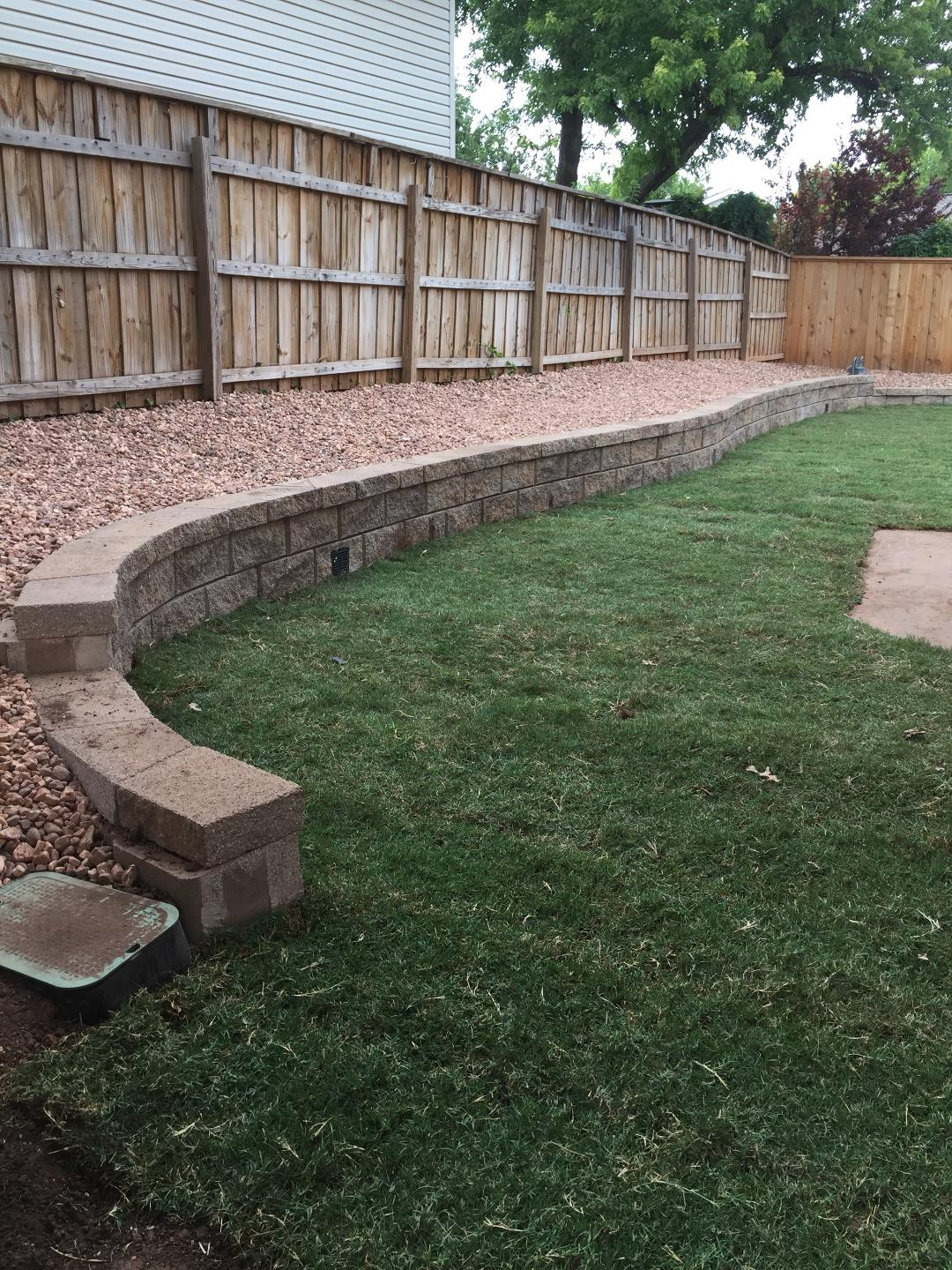 Retaining wall with Drainage and Sod BEFORE & AFTERS
